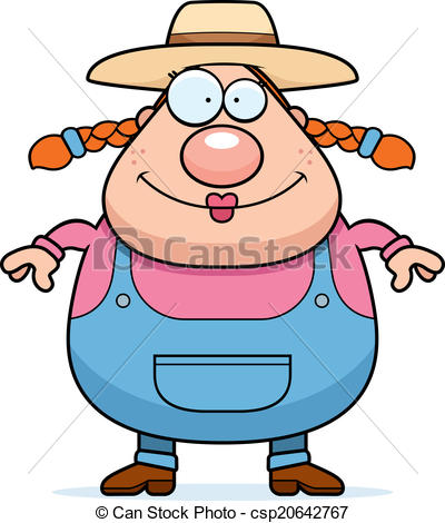 400x470 Farm Girl Smiling. A Happy Cartoon Farm Girl Standing And Clip