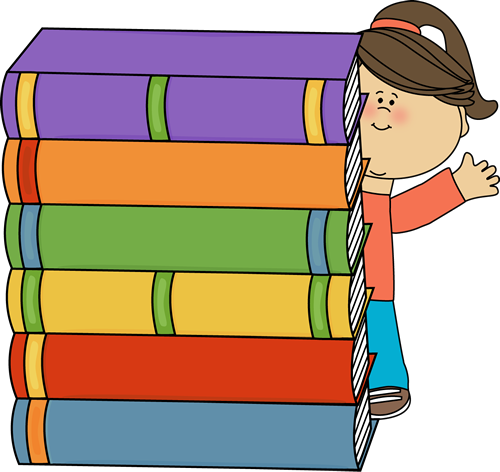 500x472 Girl Standing Behind Stack Of Big Books Clip Art