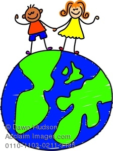 224x300 Happy Little Boy And Girl Standing On A World Globe Clipart Image