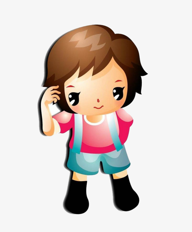 650x784 Standing Girl, Girl Student, Lovely, Cartoon Png Image And Clipart