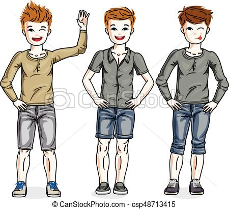 450x410 Young Teen Boys Cute Children Group Standing In Stylish Vector