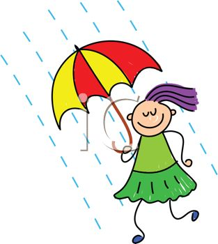 313x350 Clip Art Illustration Of A Girl With An Umbrella