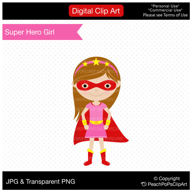 615x615 Super Hero Girl Digital Clip Clipart Panda