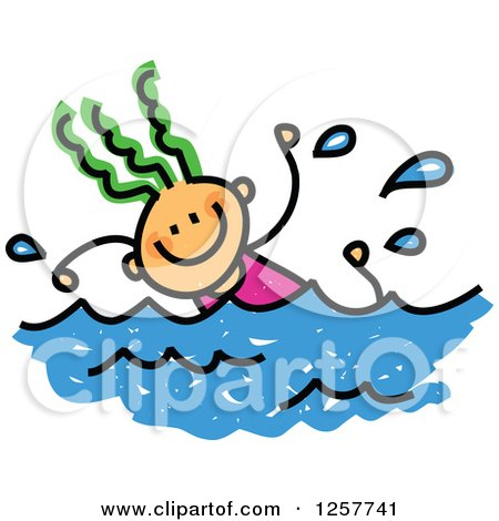 450x470 Clipart Of A Doodled Toddler Art Sketched Black Boy Swimming