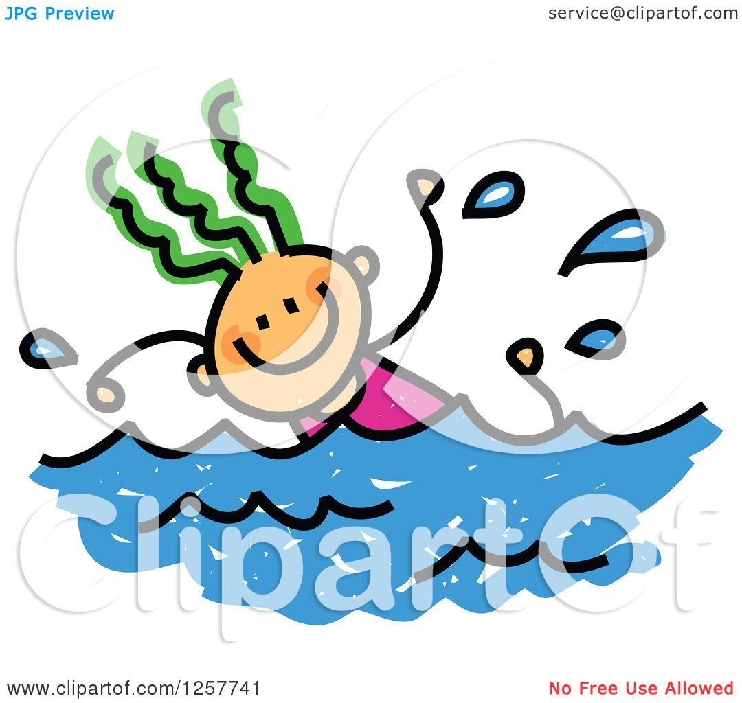 1080x1024 Clipart Of A Happy Green Haired White Stick Girl Swimming