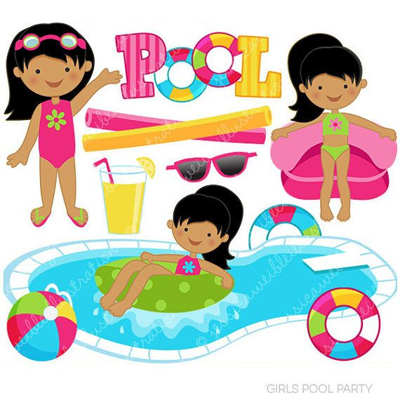 570x570 Girls Pool Party Clipart Set } Girls Pool Party Clipart Set Comes