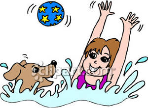 300x220 A Girl Swimming With Her Dog