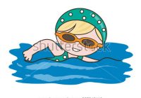 200x140 Swimming Cartoon Images Cartoon Little Girl Swimmer In