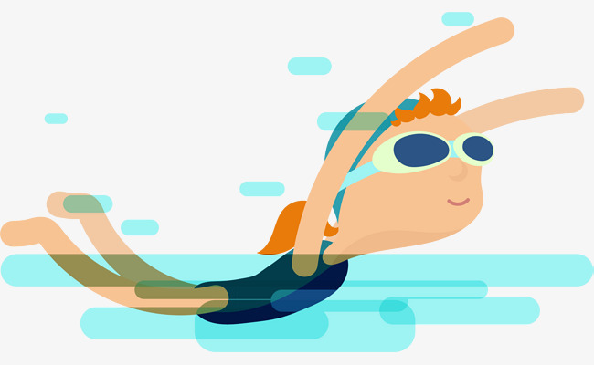 650x400 Blue Cartoon Swimming Girl, Blue, Cartoon, Swimming Png Image