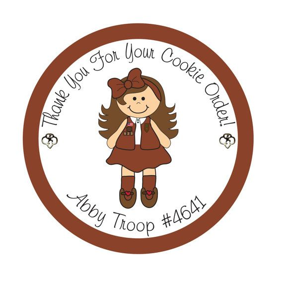 570x570 Personalized Stickers, Girl Scout, Daisy, Brownie, Cookies,favor