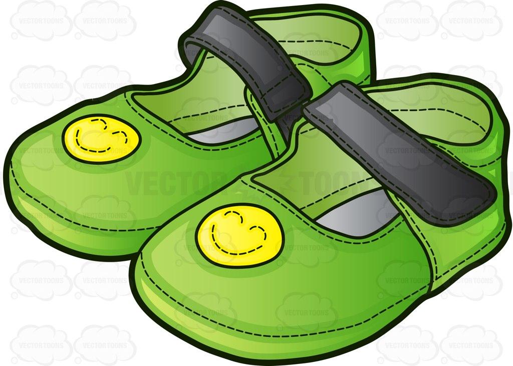 1024x731 Green Sandals For Girls Cartoon Clipart Vector Toons