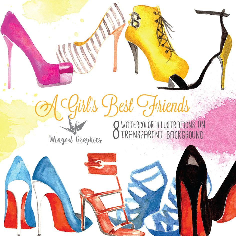 945x945 High Heels Hight Fashion Watercolour Digital Clipart Hand Drawn