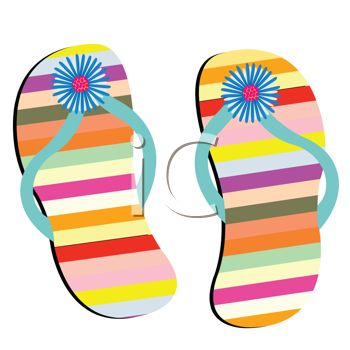 350x350 Picture Of A Pair Colorful Striped Flip Flop Sandals In A Vector
