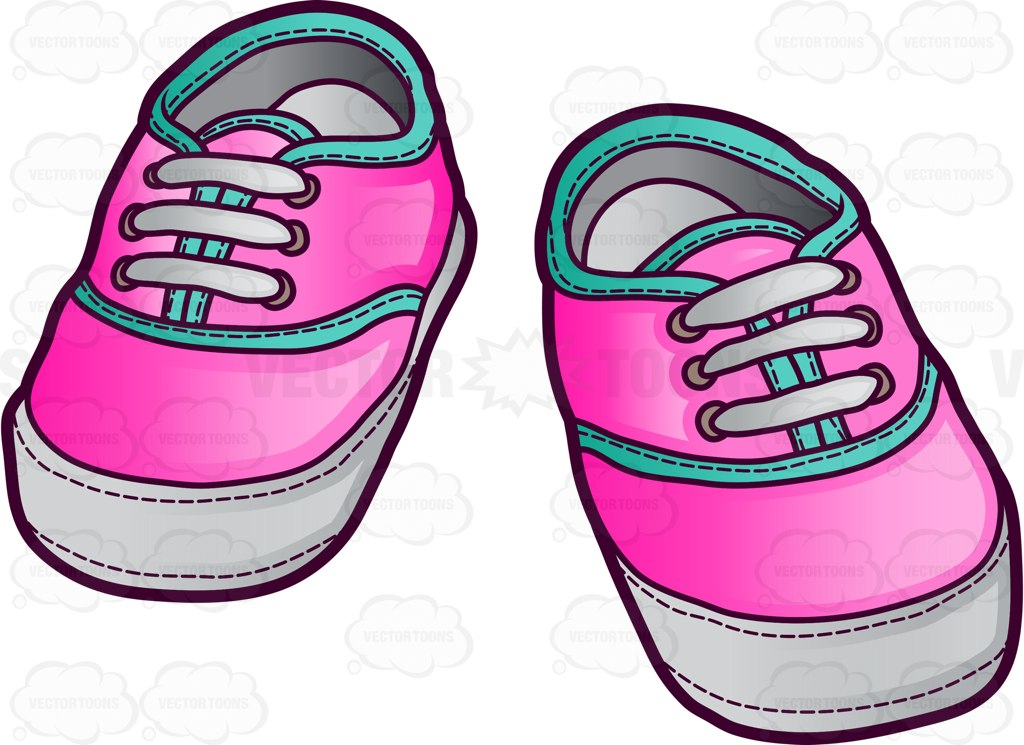 1024x745 Pink Sneakers For Baby Girls Cartoon Clipart Vector Toons