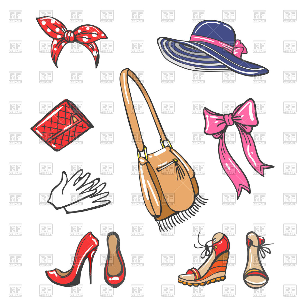 1200x1200 Set Of Girls Fashion Accessories Isolated On White Background