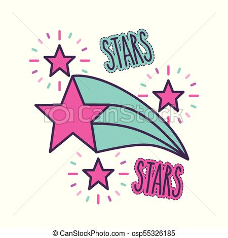 450x470 Stars And Lettering Girly Icon Image Vector Illustration Vector