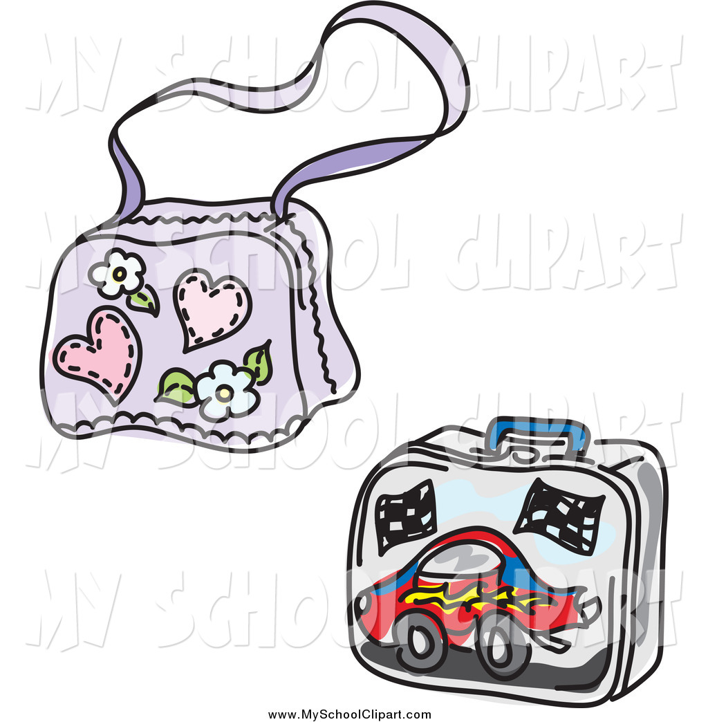 1024x1044 Clip Art Of A Girly School Bag And Boy Lunch Box By