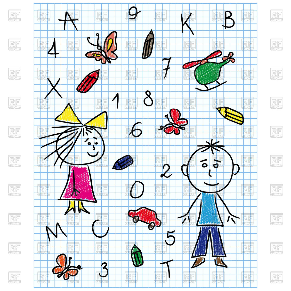 1200x1200 School Kit Hand Drawing Boy And Girl In Notebook Sheet Royalty