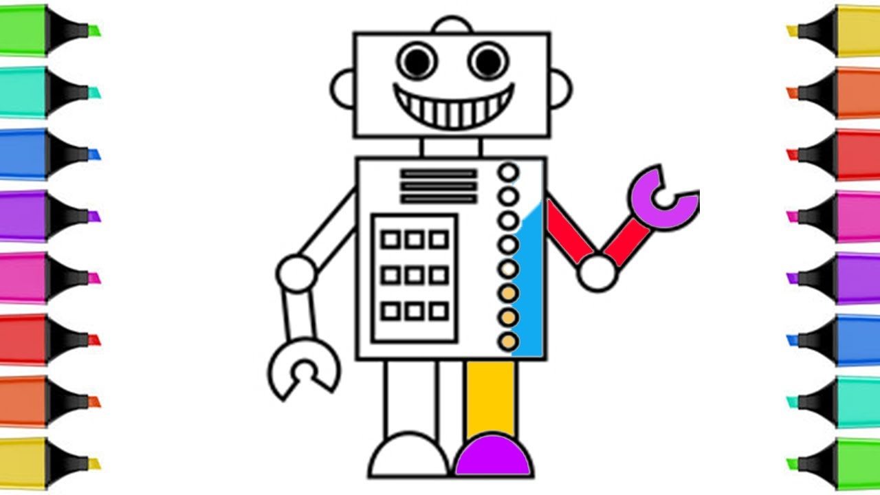 1280x720 How To Draw Robot Coloring Book Coloring Pages For Kids