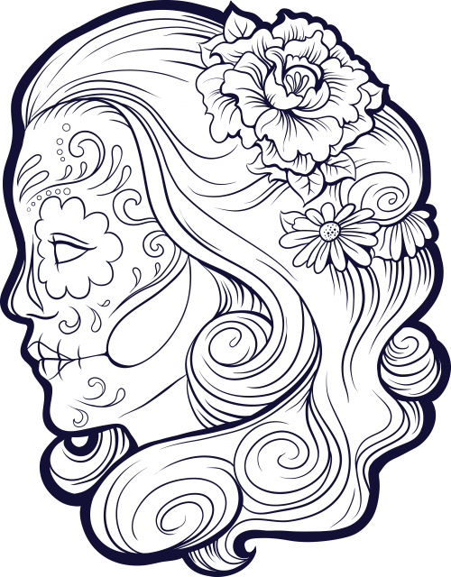 500x640 Sugar Skull Coloring Pages The Sun Flower Pages