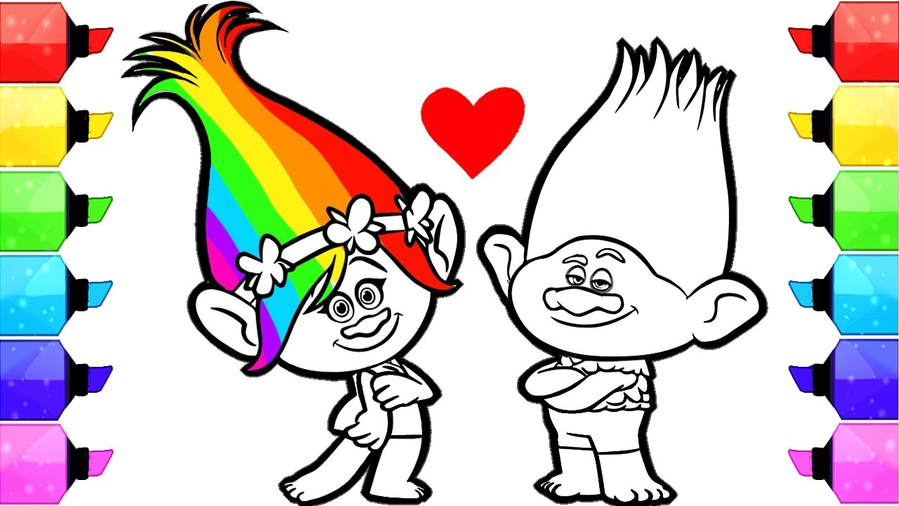 1280x720 Trolls Poppy Coloring Pages How To Draw And Color Dreamworks