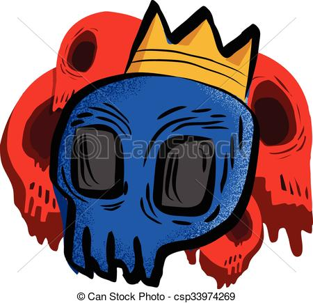450x435 Drawing Of Blue Skull With Crown