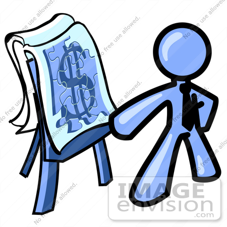 450x450 Clip Art Graphic Of A Blue Guy Character Giving A Financial