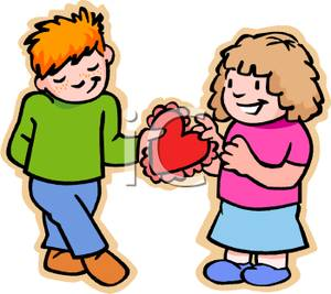 300x267 Clip Art Image A Shy Boy Giving A Box Of Chocolates To A Girl