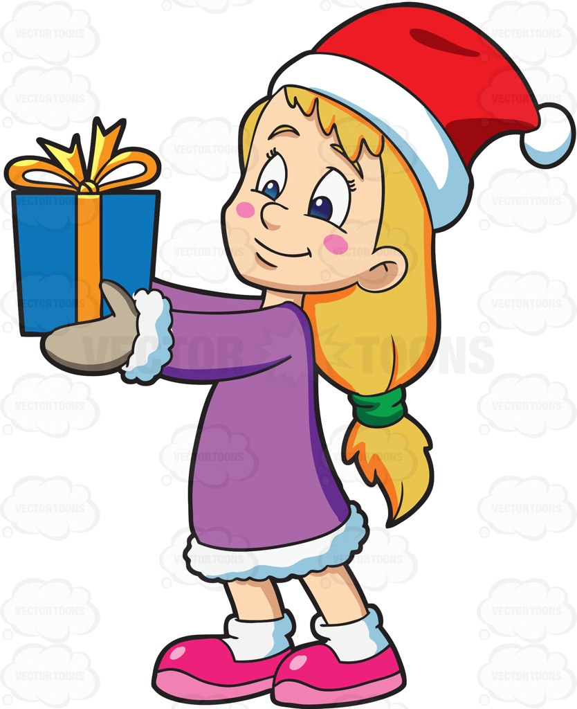 834x1024 A Girl Giving Her Christmas Gift Cartoon Clipart Vector Toons