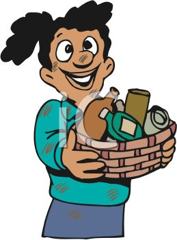 259x350 Girl Giving A Basket Of Household Items To Charity