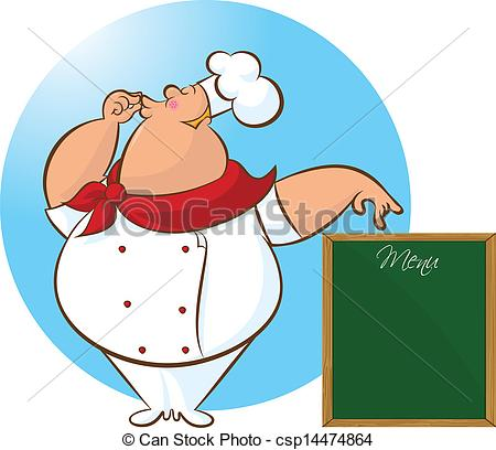 450x408 Happy Chef Menu. Vector Illustration Of Chef Giving An Clip Art
