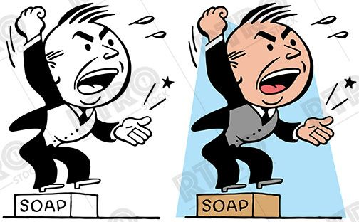 504x312 A Cartoon Of A Man Getting Up On A Soapbox And Giving A Passionate