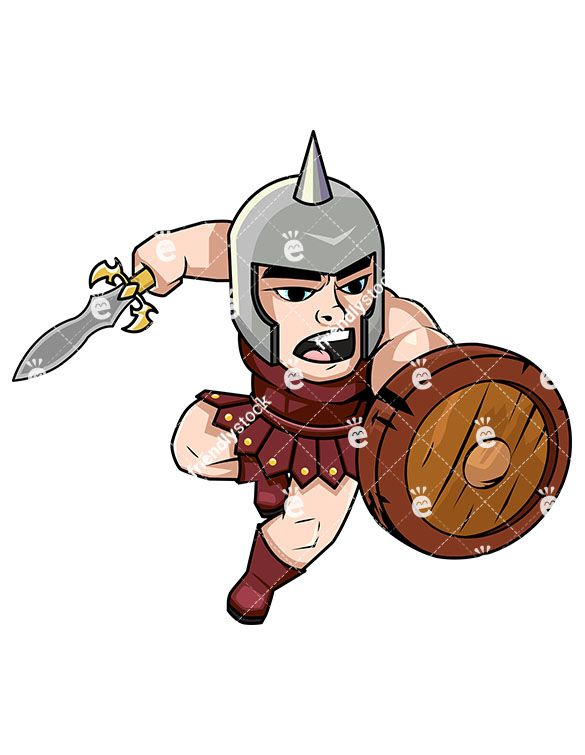 585x755 Brave Gladiator Charging With Sword Vector Cartoon Clipart
