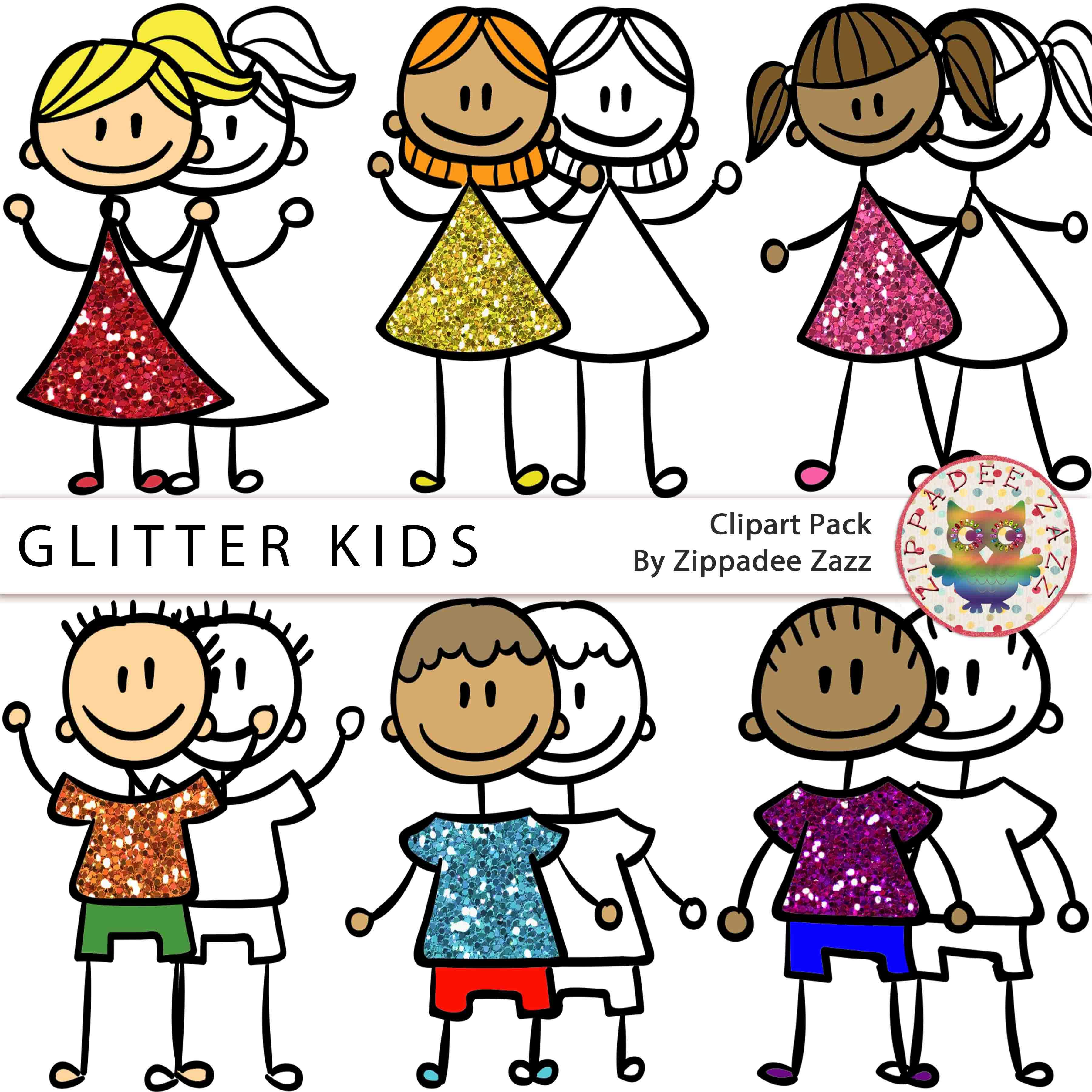 3600x3600 Glitter Kids Children Clipart Bw Line Art Included Free