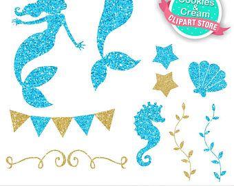 340x270 Gold And Blue Beautiful Ocean, Mermaid Clip Art, Cute Glitter