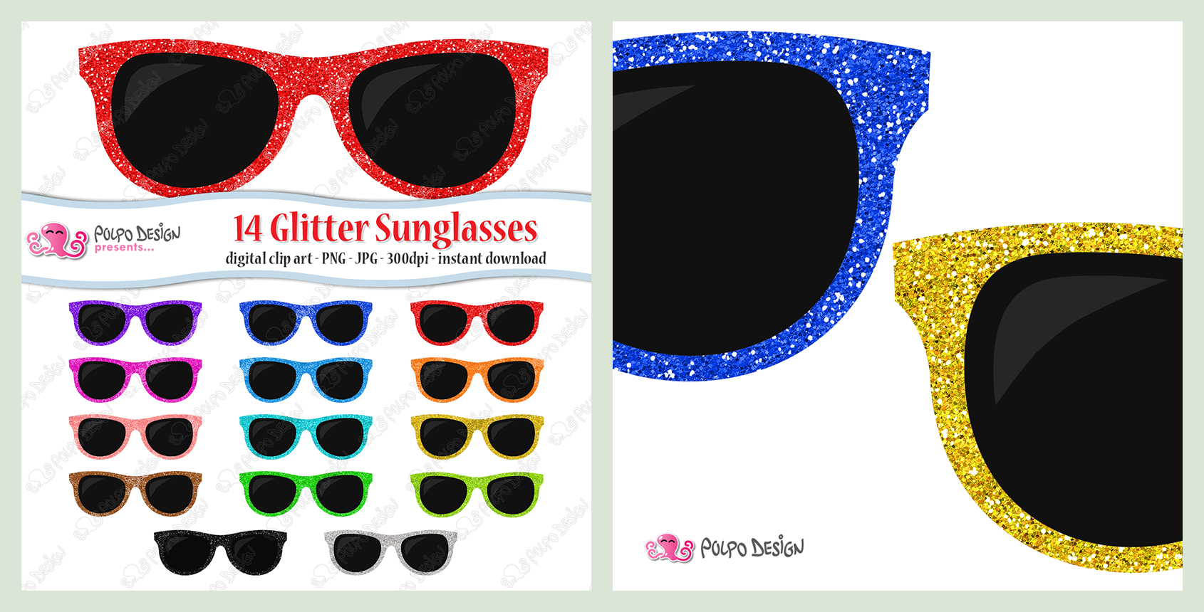 1690x860 Colorful Glitter Sunglasses Clipart By Polpodesign