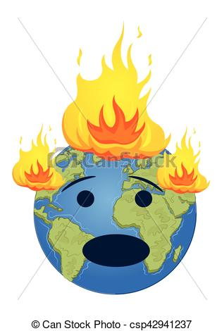 318x470 Burning Planet Earth. Global Warming Concept Over White Vectors