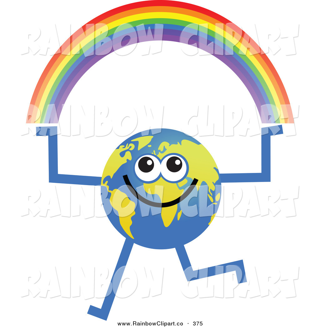 1024x1044 Vector Clip Art Of A Global Character Holding A Rainbow In His