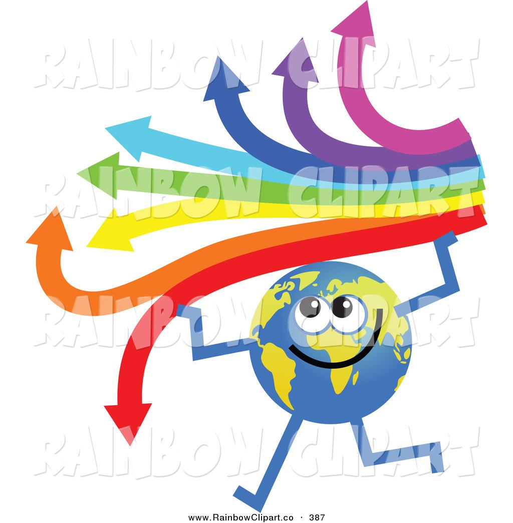 1024x1044 Vector Clip Art Of A Global Character Holding An Arrow Rainbow