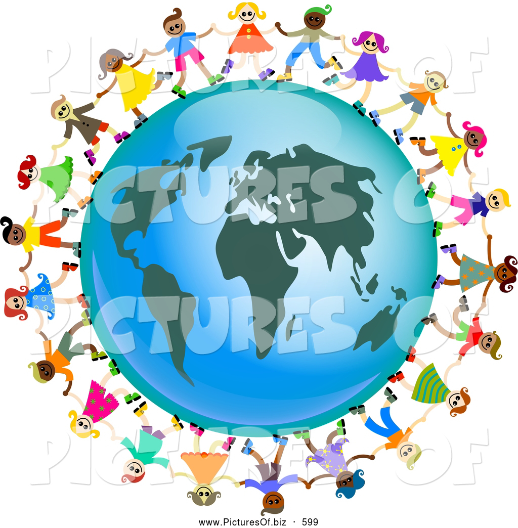 1024x1044 Clipart Of A Ring Of Global Kids Dancing Around An Africa Globe By
