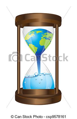 305x470 Hourglass With Concept Of Global Warming Isolated. Vector