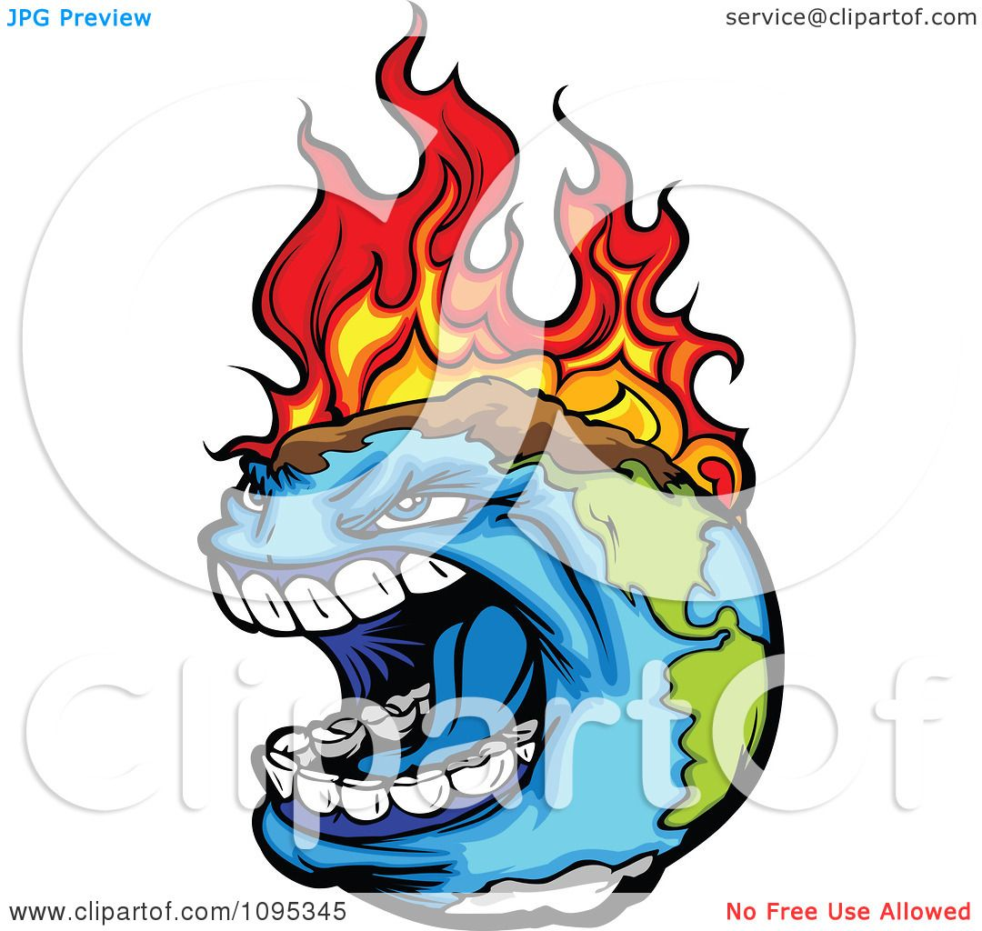 1080x1024 Clipart Angry Earth Screaming While Burning From Global Warming