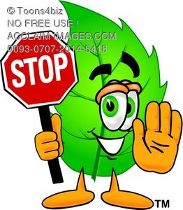 262x300 Clipart Illustration Cartoon Leaf Character Holding A Stop Sign