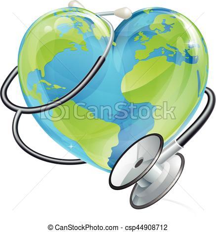 437x470 Heart Earth World Globe Stethoscope Health Concept . Vector Clip