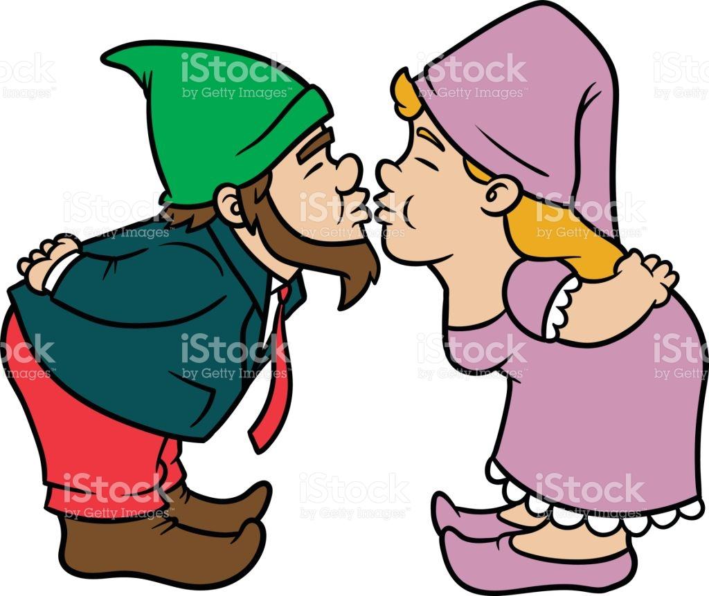 1024x862 Kissing Gnomes Clipart