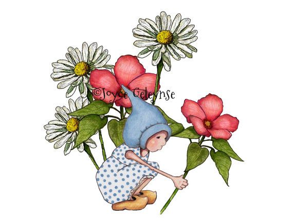 570x430 Printable Clip Art Hand Drawn Gnome Girl In By Toadstoolprintables