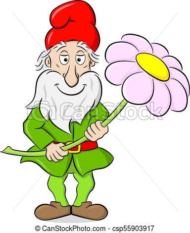 384x470 Vector Illustration Of A Cartoon Garden Gnome Holding A Vector