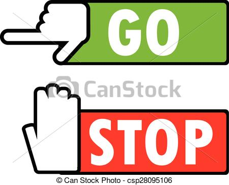 450x364 Go And Stop Navigation Signs. Green Go And Red Stop Vector