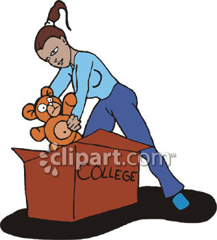 316x350 Royalty Free Clip Art Image Young Woman Packing To Go Away To College