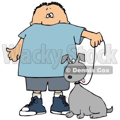 400x400 Clipart Illustration Of A Little Caucasian Boy Walking His Grey
